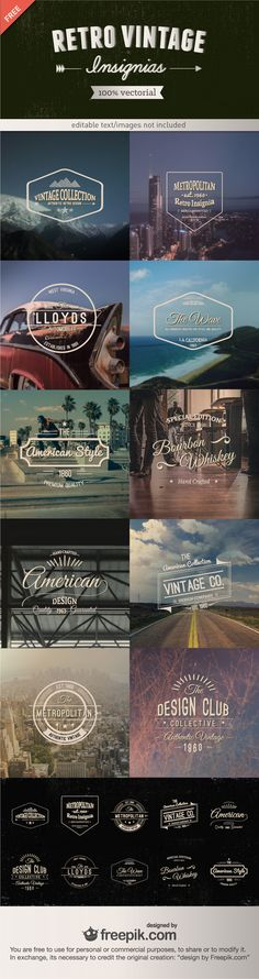 Retro #Vintage Insignias: A Vector #Freebie From Freepik via @awwwardscom