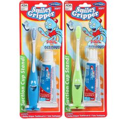 """Fun, smiling toothbrushes make kids want to brush! Soft-bristled brush has a rubbery, easy-grip handle and suction cup """"feet"""" that make it stick to the counter... helps keep germs at bay! Ea"""