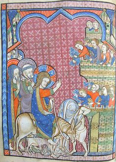 the Entry into Jerusalem -  MS K.26, one of a sequence of 46 Biblical illustrations (c.1270-80) inserted at the front of a fourteenth-century Psalter (English)