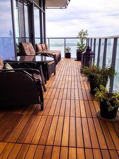 Interlocking floating tiles are the ultimate solution for condo balcon Balcony Tiles, Condo Balcony, Balcony Flooring, Glass Balcony, Tiny Balcony, Outdoor Flooring, Apartment Deck, Apartment Balcony Decorating, Apartment Balconies