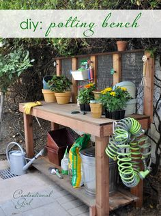 diy potting bench. LOVE the step by step pic :) #centsationalgirl