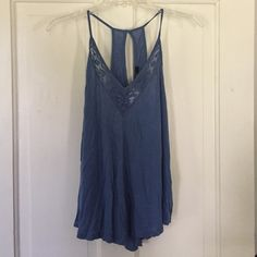 F21 muted blue tank Never been worn F21 muted blue tank with lace and tags still attached. Forever 21 Tops Tank Tops