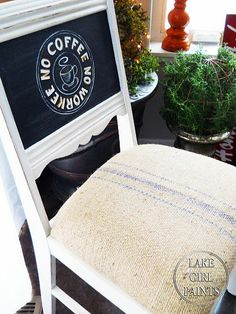 chalkboard and grain sack chair makeover