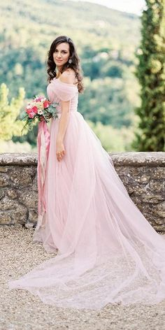 Color Trend: 18 Blush Wedding Dresses You Must See ❤ blush wedding dresses a line simple off the shoulder dream and dress ❤ #weddingdresses #weddingoutfit #bridaloutfit #weddinggown