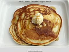 Cracker Barrel Pancakes (copycat recipe). I, Tanya, made these last night and they are delish & super easy. I doubled the recipe and used sour milk (1Tbsp vinegar to each 1 cup milk) because I live in Argentina and buttermilk is not available. My kiddos loved these!!!