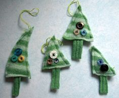 Felted sweater christmas ornaments!  If you have never felted an old sweater, you should try it today.  All you need is a wool sweater (thrift store time) and a washing machine.