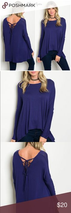 """🆕Navy blue top with back lace tie up Long sleeve with scoop neck jersey tunic top. Has back lace detail.  Fabric- 96% viscous 4%spandex  Small description- L 25"""" B 40"""" W- 44"""" Tops Blouses"""