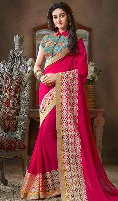 Get a captivating look wearing this pink color georgette embroidered sari. The lace, resham and butta work personifies the overall appearance. Upon request we can make round front/back neck and short 6 inches sleeves regular saree blouse also. #LatestNewZipperStyleBlouseWithPinkSari