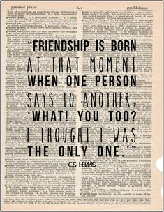 C.S. Lewis friendship literary quote by JenniferDareDesigns, $10.00