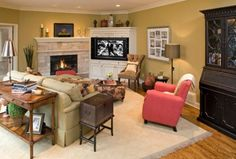 tv next to a fireplace Corner Space, Room Corner, Home Decor Inspiration, Rest, Couch, Living Room, Furniture, Design, Decorating Ideas