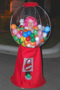 Homemade Gumball Machine Halloween Costume Idea: My daughter, Megan, decided that she wanted to be something amazing this year for Halloween. She came up with the homemade Gumball Machine Halloween costume Gumball Machine Halloween Costume, Gumball Costume, Homemade Halloween Costumes, Creative Halloween Costumes, Halloween Diy, Halloween Decorations, Halloween 2019, Costume Halloween, Candy Decorations