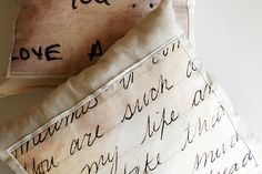 love letter pillows!... use daddy's letters from WWll Diy Pillows, Handmade Pillows, Couch Pillows, Throw Pillows, Sewing Hacks, Sewing Projects, Fun Projects, Sewing Ideas, Old Letters
