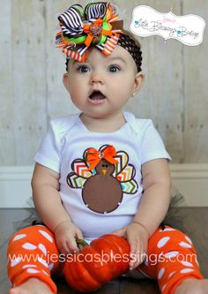 Aww paisley! Fall Turkey Diva  Thanksgiving  Baby shower  by 5littleblessings, $24.00