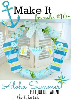 Make it: the Aloha Wreath. Perfect for Summer Doors, Pool or Vacation Homes! #poolnoodle #wreath #summer