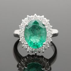 c852d41eb72 14K White Gold 3.38 CT Emerald and Diamond Ring Cocktail Rings, Emerald,  Gemstone Rings