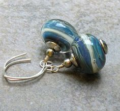 Blue Lampwork Boro Earrings Sterling Silver by DesignsbyCher, $32.00