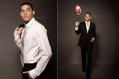 Great Senior Pictures of Boys | Football Meets GQ | Studio B Issaquah