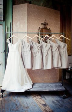 Cute idea for bride and bridesmaids dresses. And love the dress!