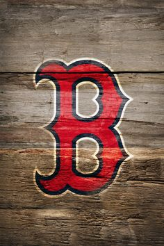 Boston Red Sox Logo on Wood iPhone Wallpaper
