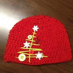 crochet Christmas tree hat  could put the tree on a scarf, pot holder, etc....