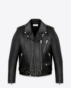 SAINT LAURENT Signature Motorcycle Jacket in Black Washed Leather