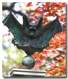 Bronze statuette, by Lawrence Tenney Stevens A bat is represented in an attitude of defiance Photo by Dragons, Shetland, Horror, Ange Demon, Gothic House, Objet D'art, Sculpture, Samhain, Hallows Eve
