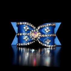 """7/8"""" ~ Crystal Embellished Royal Blue Dog Bow with Flags. Large AB Swarovski Crystal Center. by BellasDogBows, $18.99 USD"""