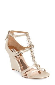 Badgley Mischka 'Cashet' Embellished T-Strap Wedge (Women) available at #Nordstrom