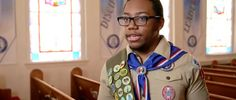 """Without Scouts, Justice Boston found himself dwelling on all """"the sad things in my life."""" But with Scouts, """"I realized that I could be somebody. Show Video, Boy Scouts, Boston, Sad, Scouting, Boys, Jackets, Life, Baby Boys"""