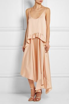 Stella McCartney | Yenna tiered silk-satin dress | NET-A-PORTER.COM