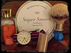 Wickhams Super Smooth - English Lavender, Rod Neep Retro Deluxe brush, Ikon Shave Craft OC Deluxe razor and a splash of Trumpers Spanish Leather Cologne