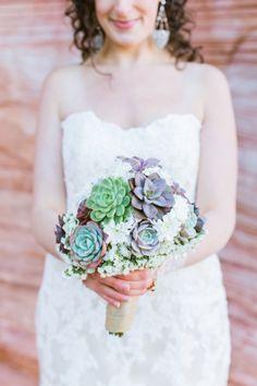 las vegas red rock desert elopement | natural succulent wedding bouquet | gaby j photography