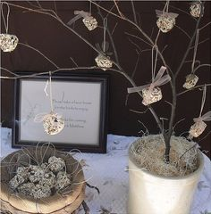 Bird seed heart favors, perfect for wedding or bridal shower party favors. Use them as indoor decorations, then send them home as favors for your guests hang them outside for the birds. party