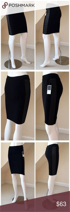 """NWT Juicy Couture Stretch Skirt NWT Juicy Couture Wool/Leather Stretch Skirt...a closet staple!...bodycon stretch, pull-on style slim skirt..banded waist...lamb leather panels on each side...medium weight knit...wool/polyamide/elastane blend...dry clean. Size XS will fit 0-4. Length 22"""". Retail $178 Juicy Couture Skirts Pencil"""