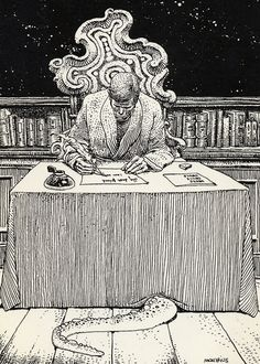 Cover illustration by Moebius for Letters of Arkham (Glénat, 1975) by HP Lovecraft