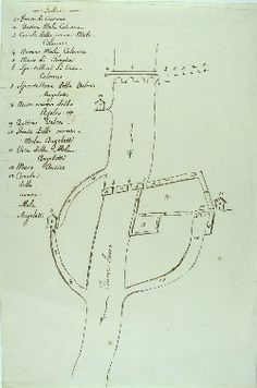 Schizzo schematico del fiume Sacco del 1800-1820 nel tratto compreso tra il ponte di Ceccano (FR) e i canali delle 2 mole: Colonna e Angeletti - from Archivio di Stato di Roma