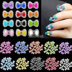 20pcs x 3D Acrylic Nail Art /'Bow-Tie Rhinestone Bows/' Nail Craft Decorations