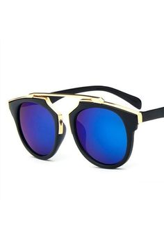 90506c1343ca Honey Couture STACEY Gold   Black Frame Blue Reflective Sunglasses