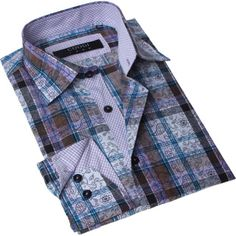 @Overstock - Brio Milano Men's Contemporary Fit Brown and Blue Plaid Button-up Dress Shirt - Showcase your unique style with this Brio Milano men's dress shirt that looks equally as charming with jeans or dress pants. Shades of brown and blue combine over white and blend plaid and floral patterns for a look that marries elegance with masculinity…