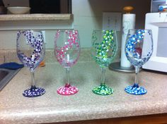 Some wine glass painting