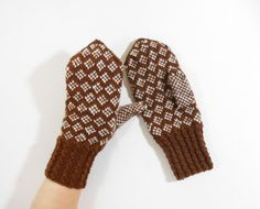 Hand Knitted Mittens  Brown and White Size by UnlimitedCraftworks