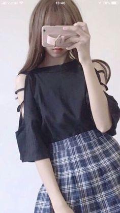 Korea Fashion, Hijab Fashion, Bell Sleeve Top, Korean, Teen, Clothes, Anime, Style, Skirts