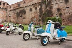 Vintage itaian scooters Lamretta and Vespa