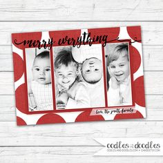 Merry Everything Christmas Card | Red Polka Dots Holiday Photo Card | 3 photos | Digital printable file or printed | Available at OandD.etsy.com