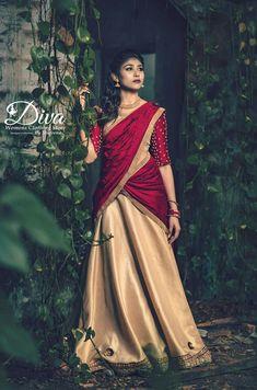Lehenga Saree Design, Half Saree Lehenga, Saree Look, Lehenga Designs, Saree Dress, Sari, Dhoti Saree, Set Saree, Churidar