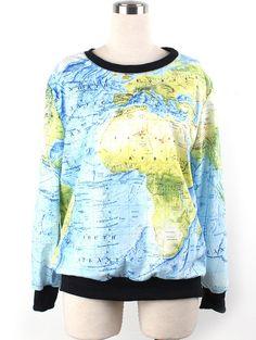 3D Print  World Map Sweatshirt #Outwear #Holidays #HappyNewYear #Coupons