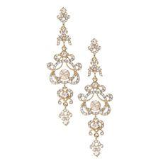 Gold and Crystal Regal Chandelier Drop Earrings