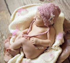Pink bonnet  baby props by pavlucha on Etsy