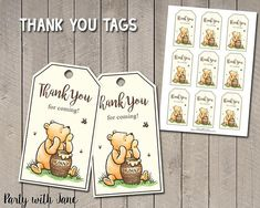 Classic Winnie The Pooh Thank You Tags Favor Tags Party