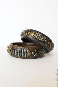 Купить Комплект браслетов из полимерной глины Мечты рыбака - комбинированный, украшение рыба, рыбки, рыбы